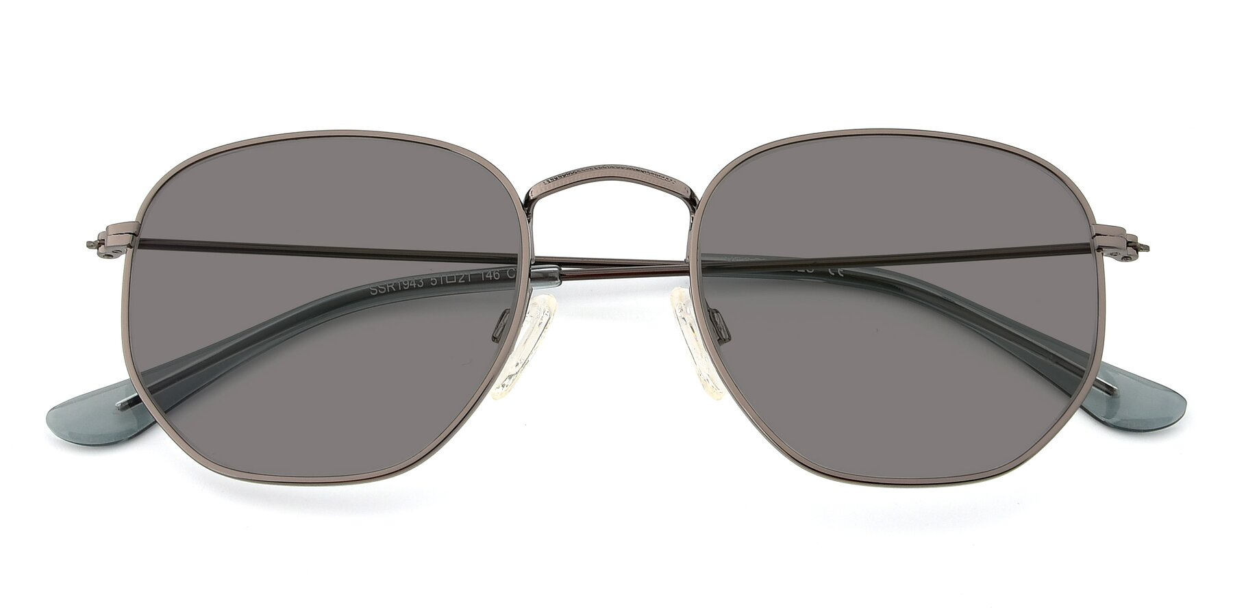 Folded Front of SSR1944 in Grey with Medium Gray Tinted Lenses