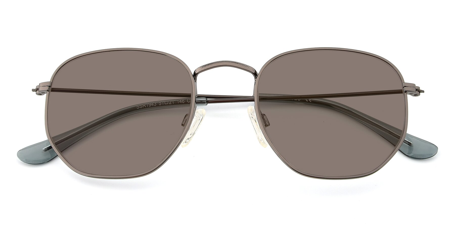 Folded Front of SSR1944 in Grey with Medium Brown Tinted Lenses