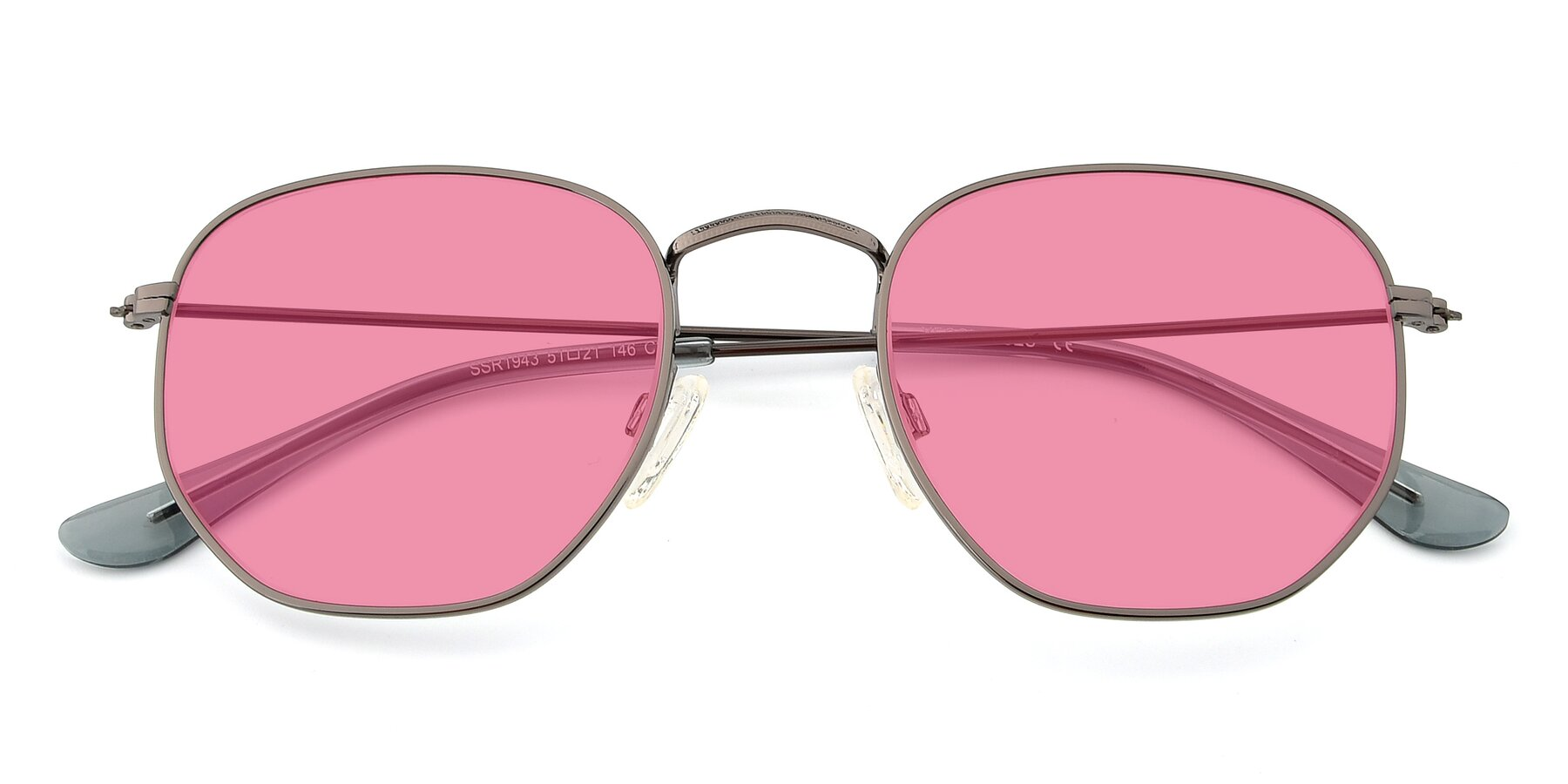 Folded Front of SSR1944 in Grey with Pink Tinted Lenses