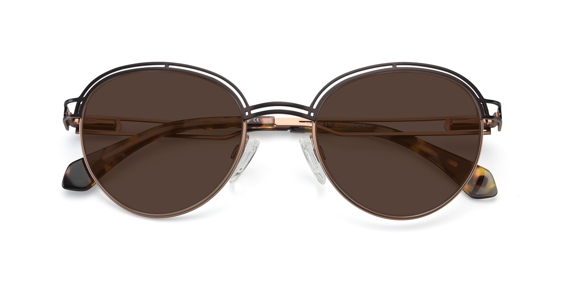 Folded Front of Marvel in Coffee-Gold with Brown Tinted Lenses