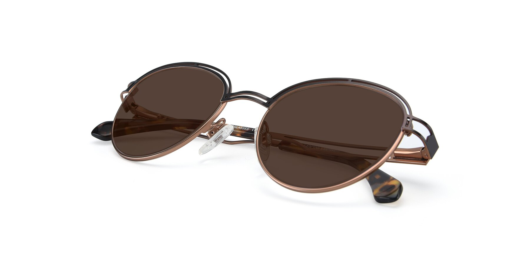 View of Marvel in Coffee-Gold with Brown Tinted Lenses