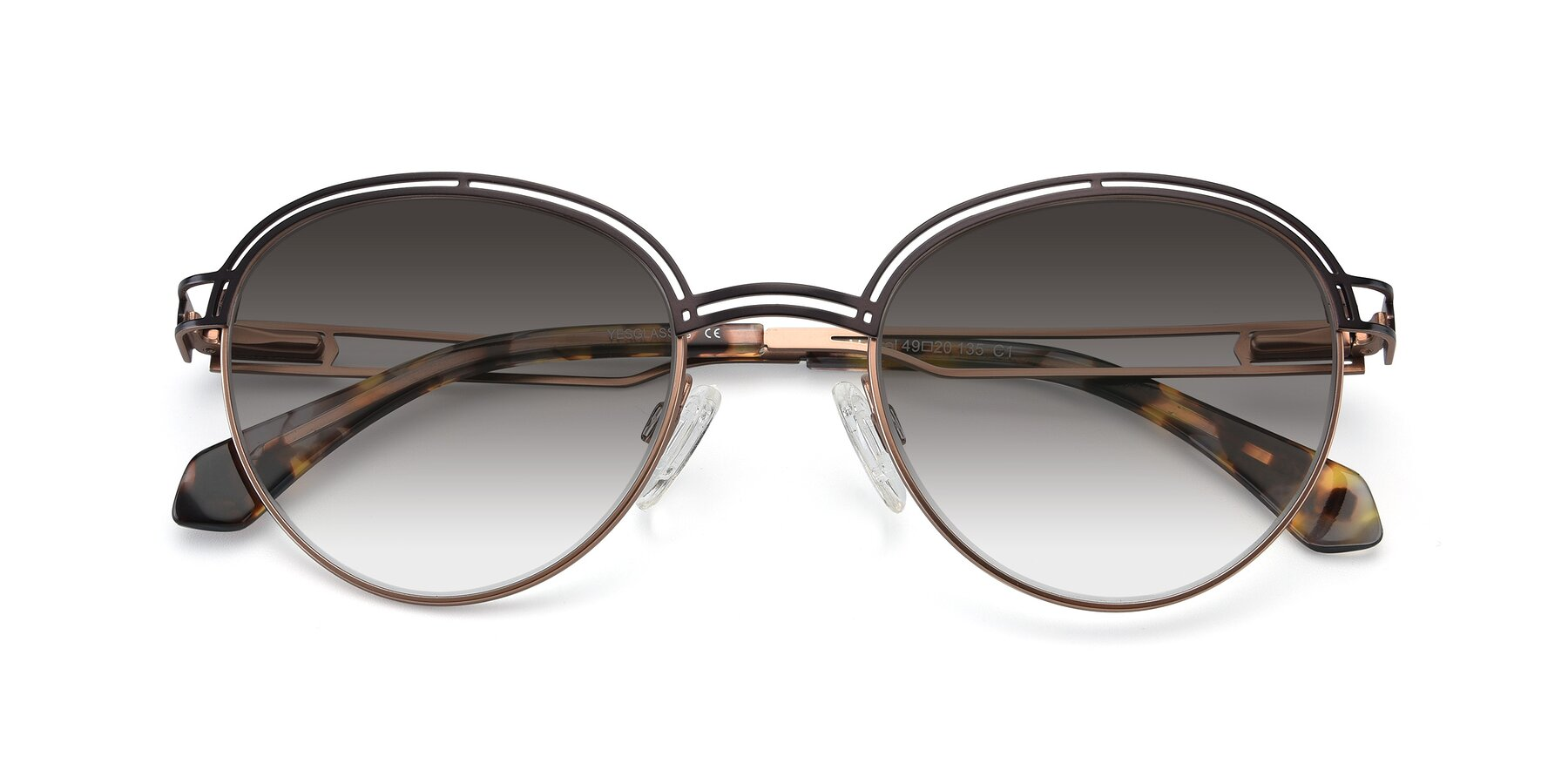 Folded Front of Marvel in Coffee-Gold with Gray Gradient Lenses