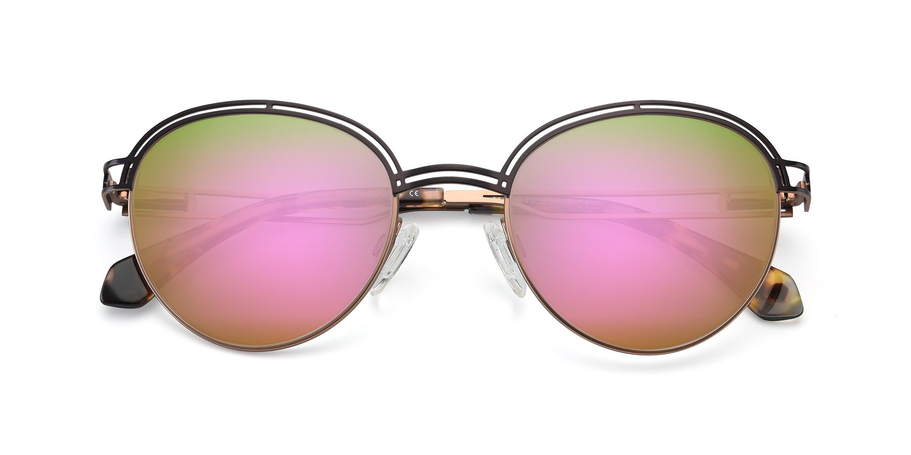 Folded Front of Marvel in Coffee-Gold with Pink Mirrored Lenses