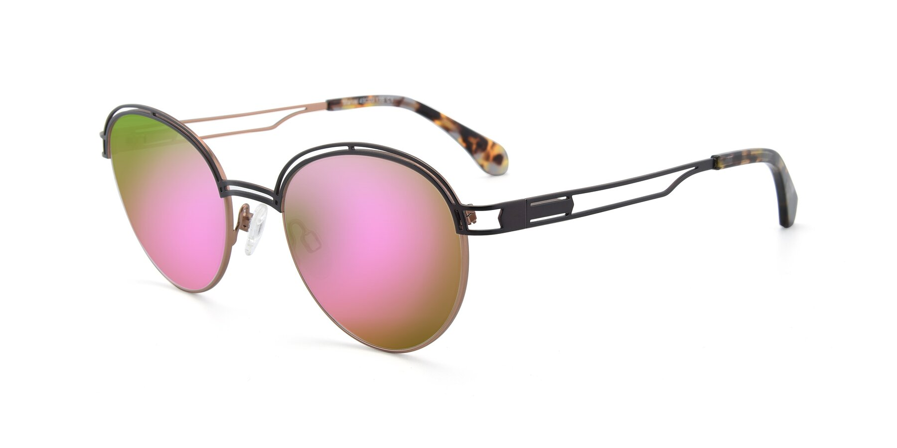 Angle of Marvel in Coffee-Gold with Pink Mirrored Lenses