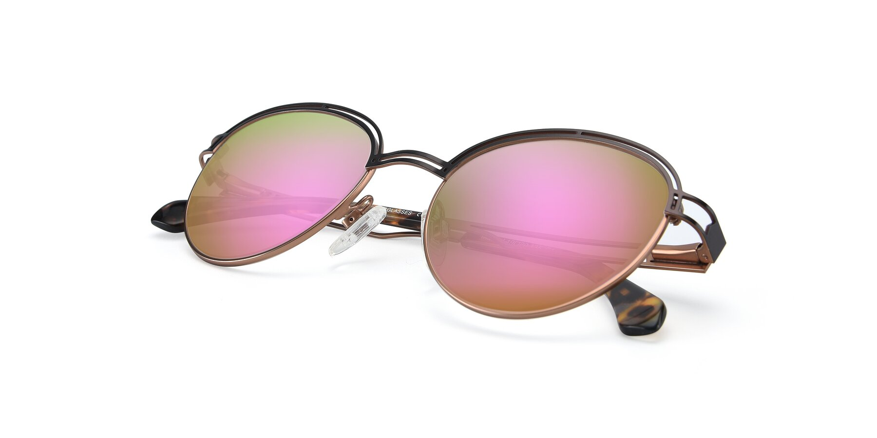 View of Marvel in Coffee-Gold with Pink Mirrored Lenses
