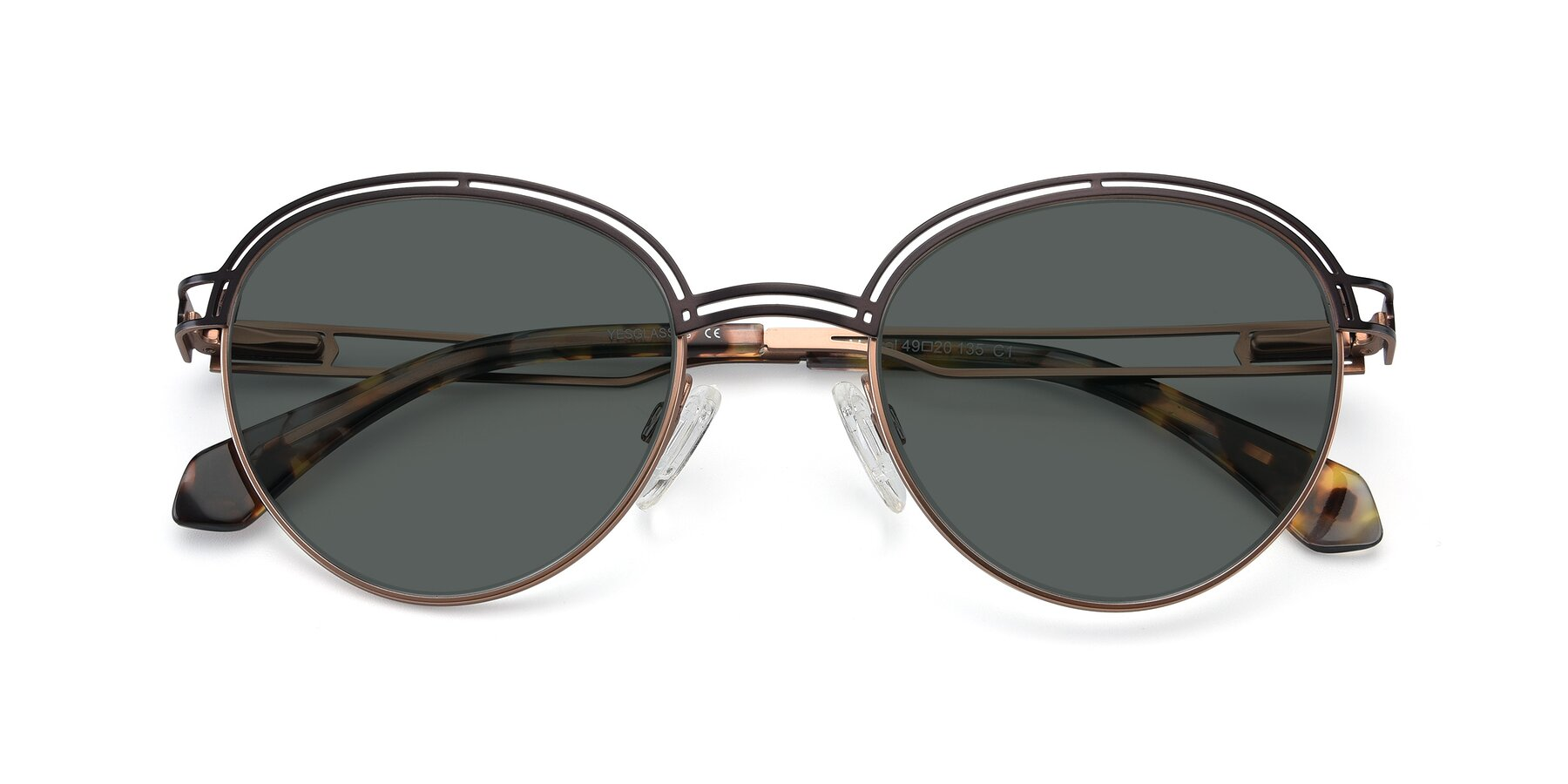 Folded Front of Marvel in Coffee-Gold with Gray Polarized Lenses
