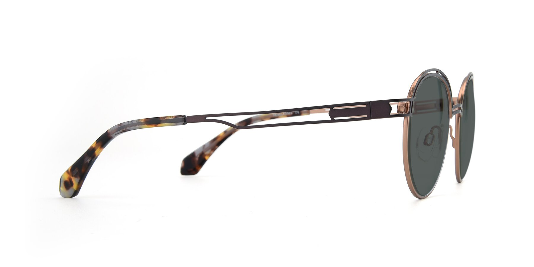Side of Marvel in Coffee-Gold with Gray Polarized Lenses
