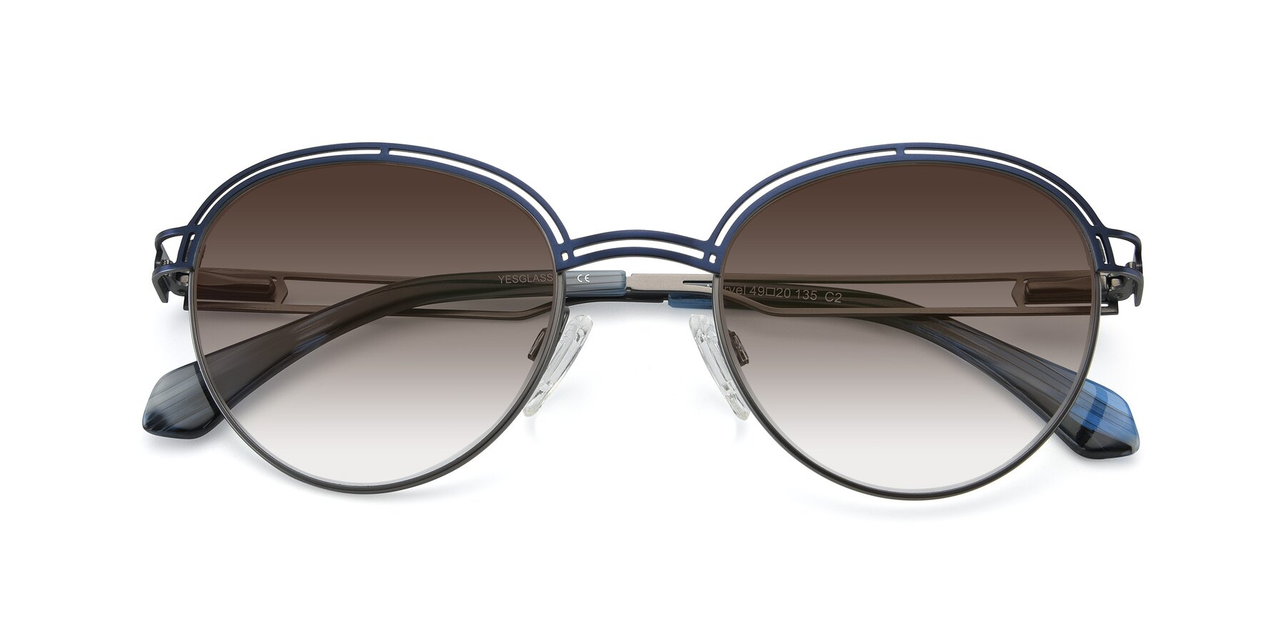 Folded Front of Marvel in Blue-Gunmetal with Brown Gradient Lenses
