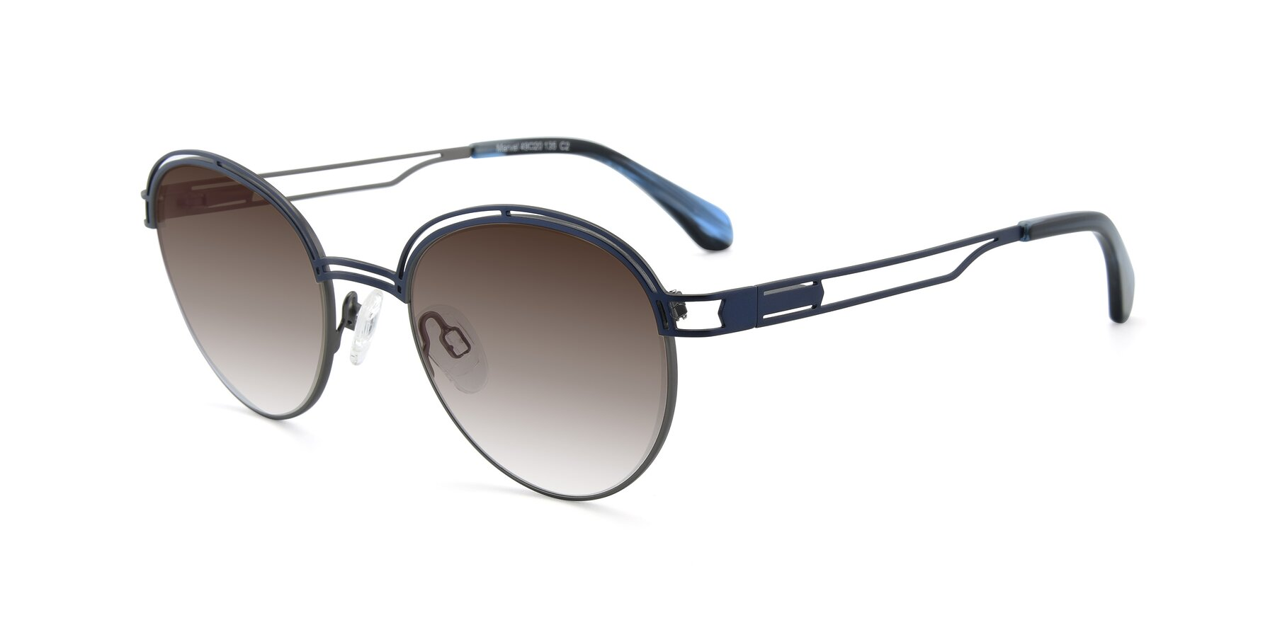 Angle of Marvel in Blue-Gunmetal with Brown Gradient Lenses
