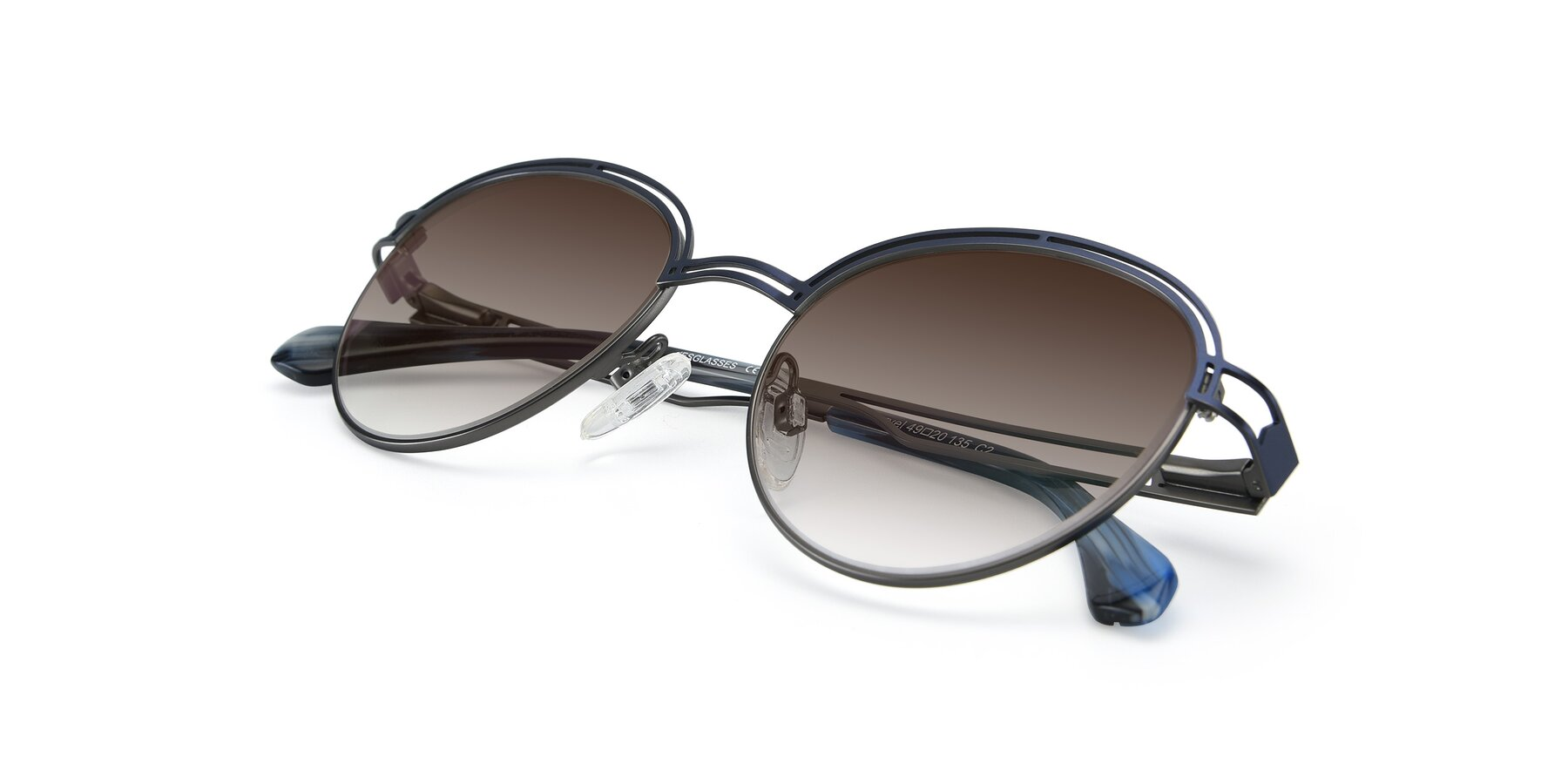 View of Marvel in Blue-Gunmetal with Brown Gradient Lenses