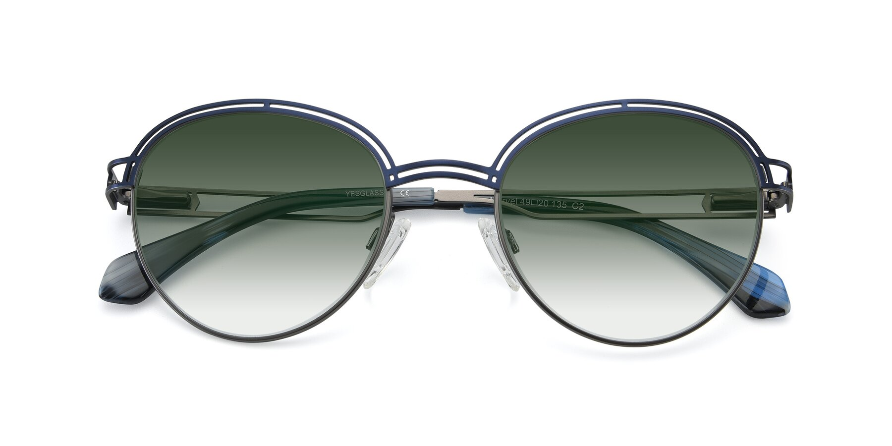 Folded Front of Marvel in Blue-Gunmetal with Green Gradient Lenses