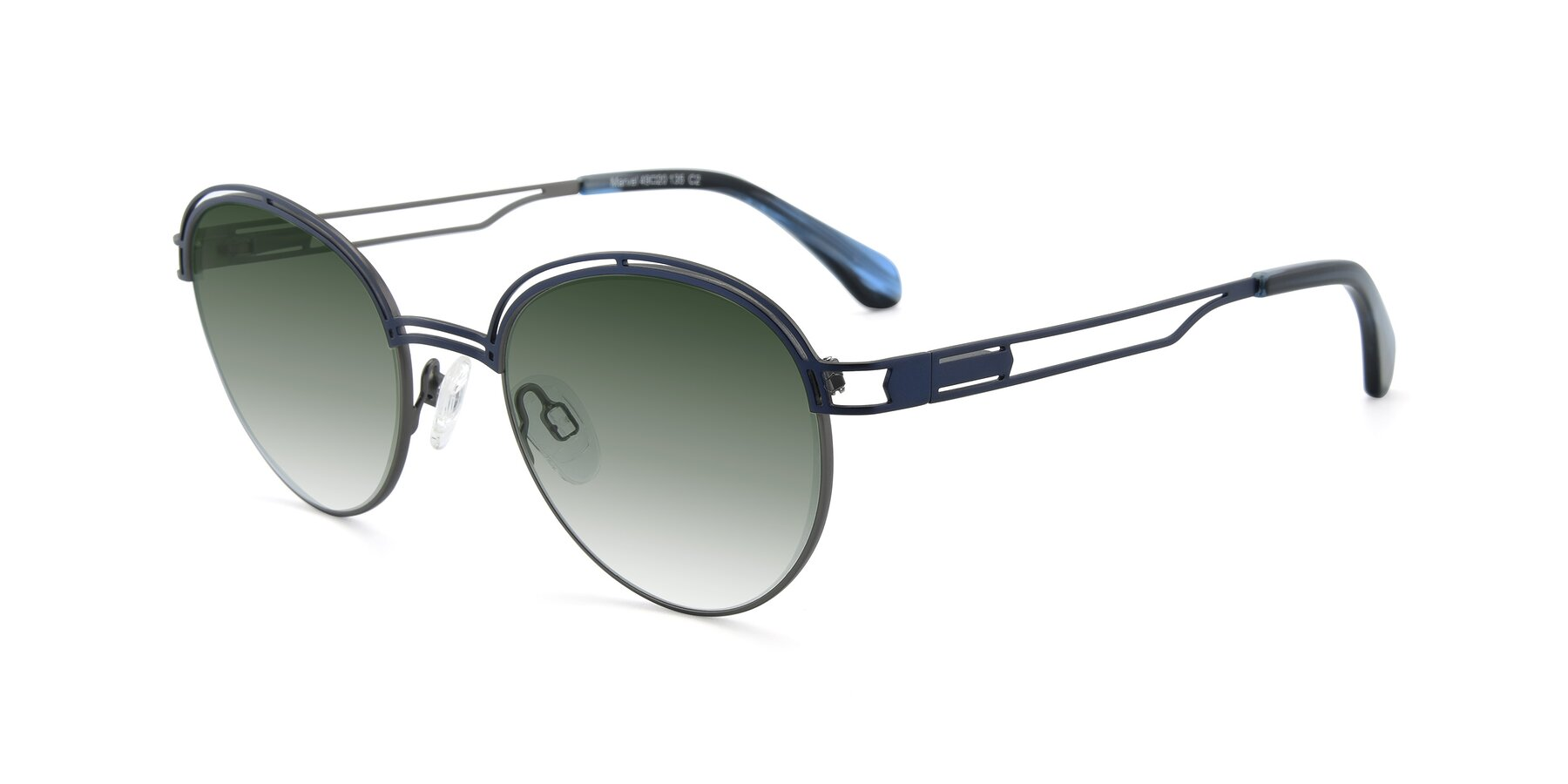 Angle of Marvel in Blue-Gunmetal with Green Gradient Lenses