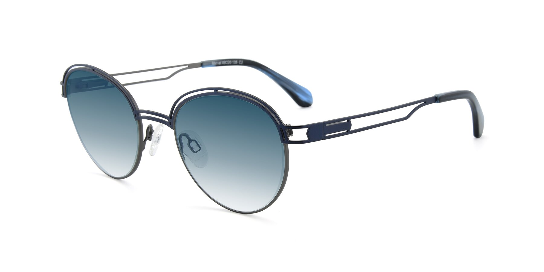 Angle of Marvel in Blue-Gunmetal with Blue Gradient Lenses