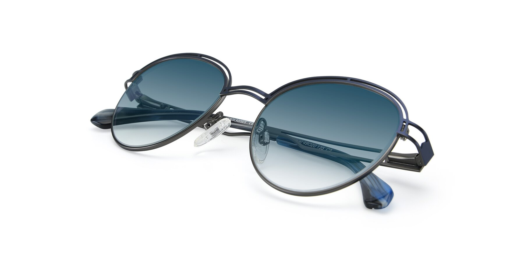 View of Marvel in Blue-Gunmetal with Blue Gradient Lenses