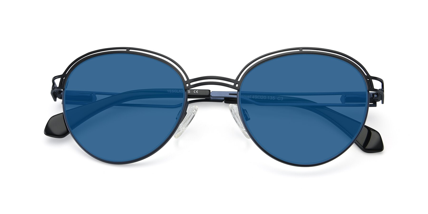 Folded Front of Marvel in Black-Blue with Blue Tinted Lenses