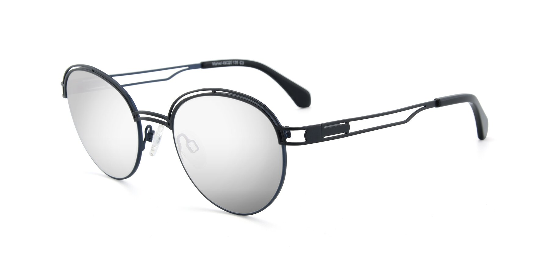 Angle of Marvel in Black-Blue with Silver Mirrored Lenses
