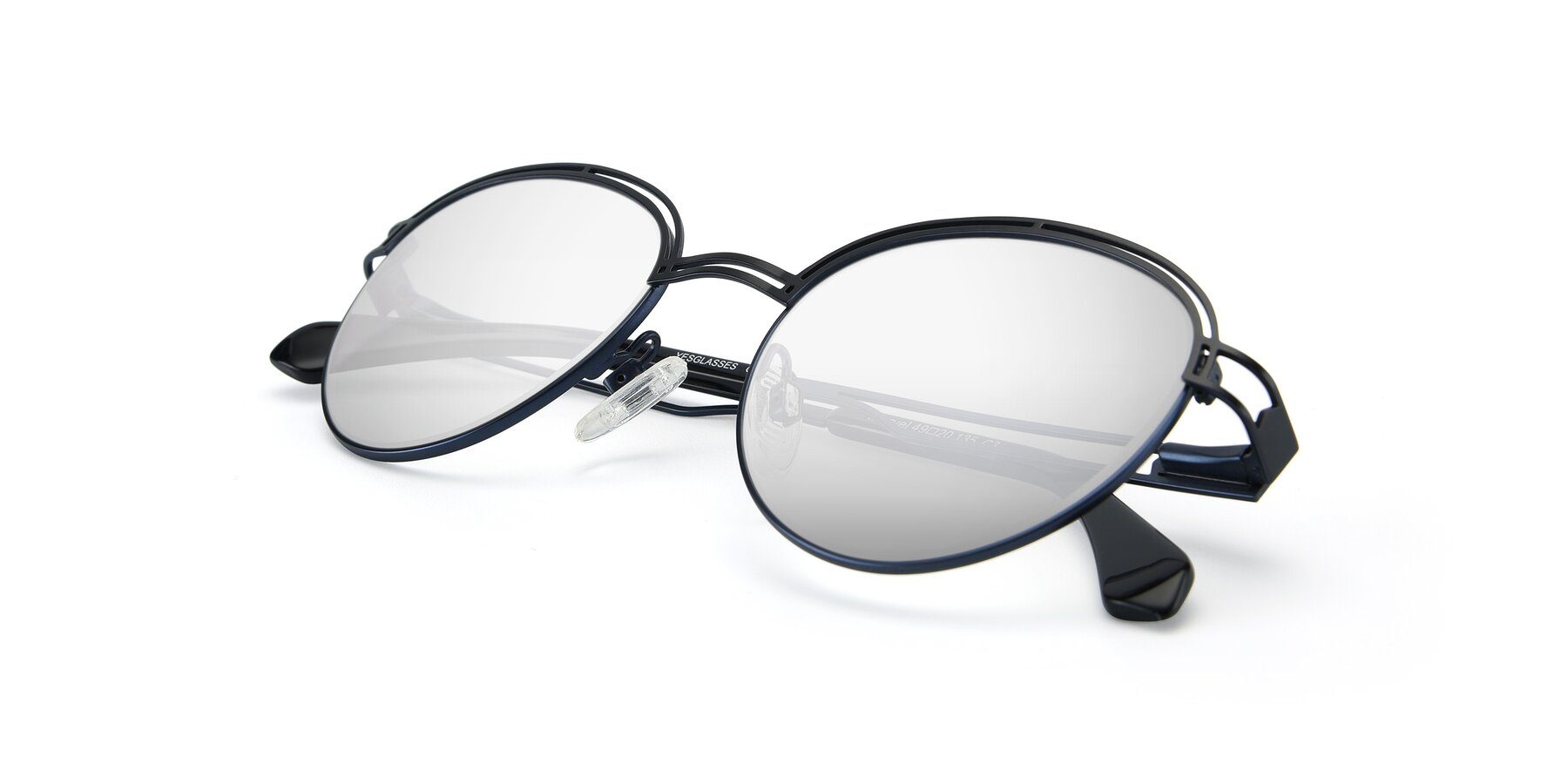 View of Marvel in Black-Blue with Silver Mirrored Lenses