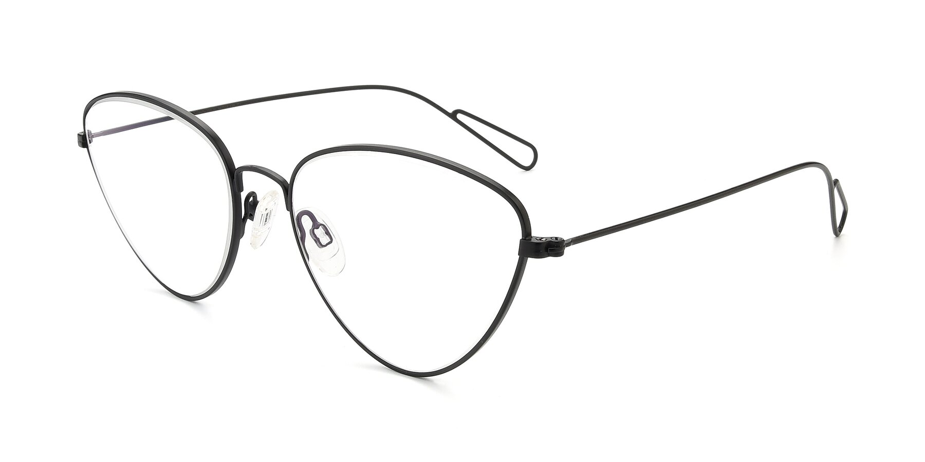 Angle of Butterfly Effect in Black with Clear Eyeglass Lenses
