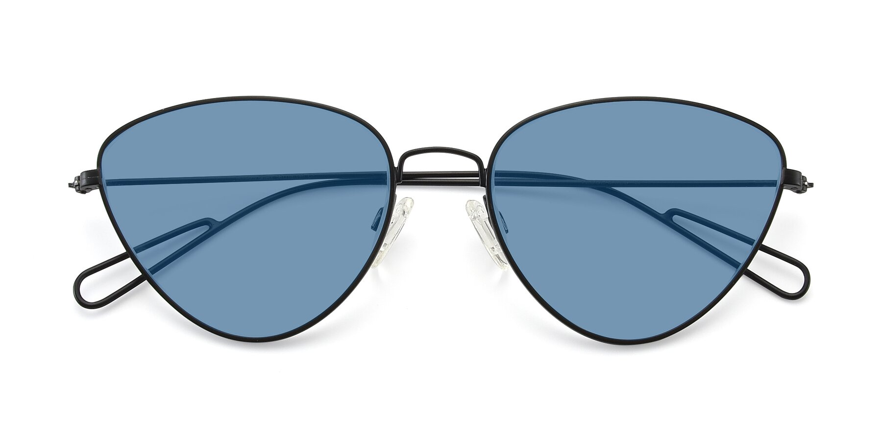 Folded Front of Butterfly Effect in Black with Medium Blue Tinted Lenses