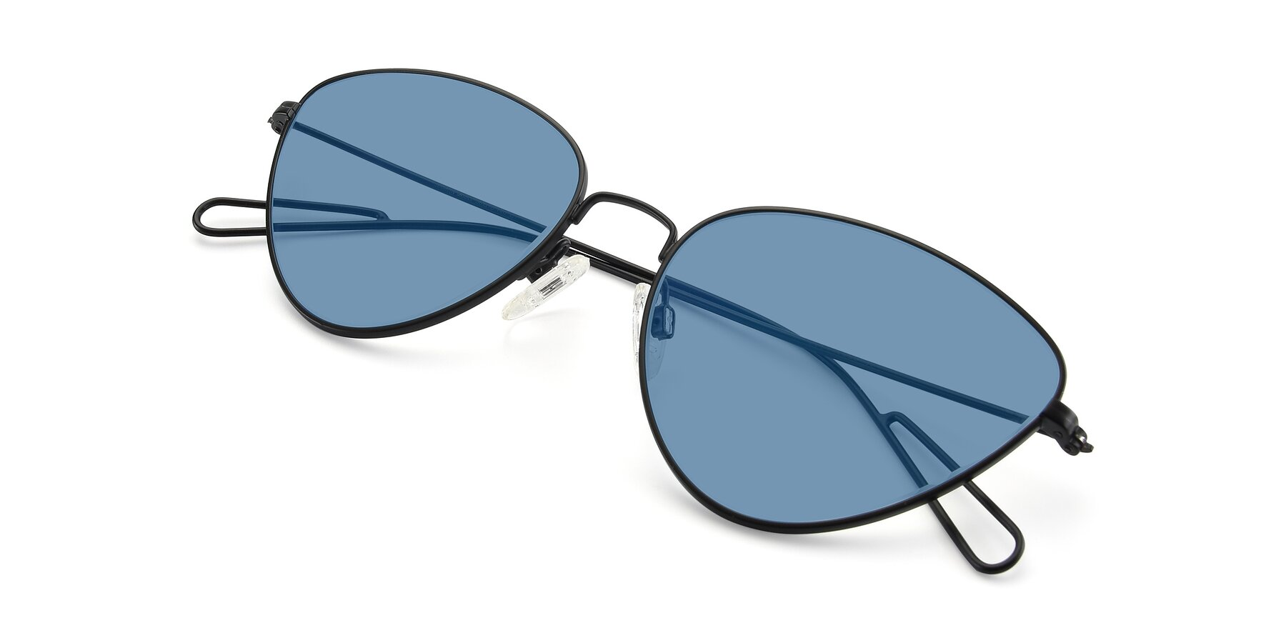 View of Butterfly Effect in Black with Medium Blue Tinted Lenses