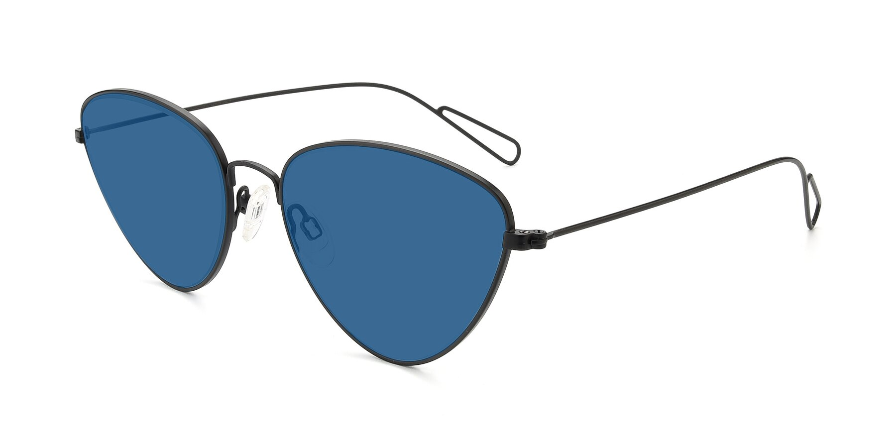 Angle of Butterfly Effect in Black with Blue Tinted Lenses