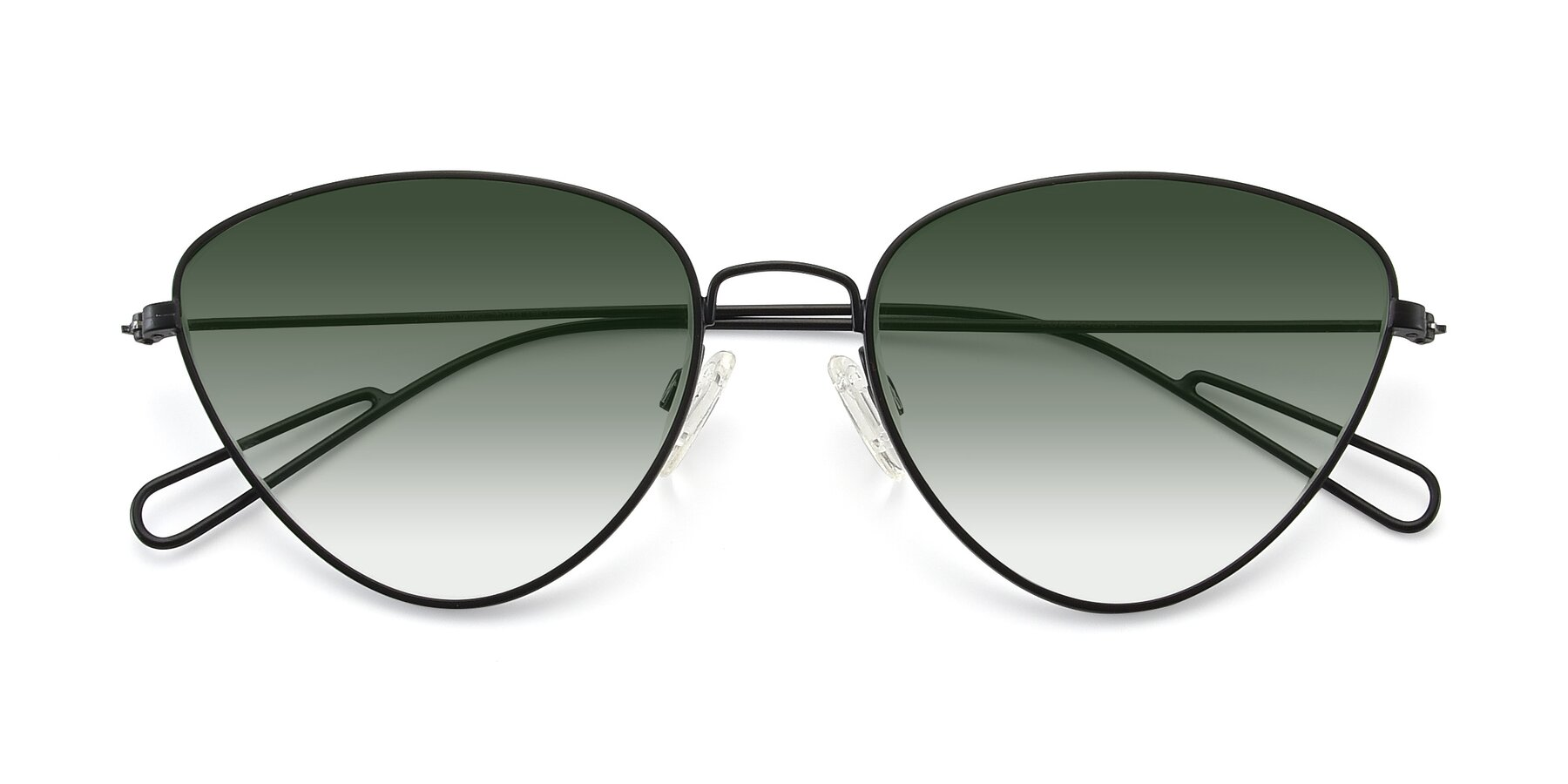 Folded Front of Butterfly Effect in Black with Green Gradient Lenses
