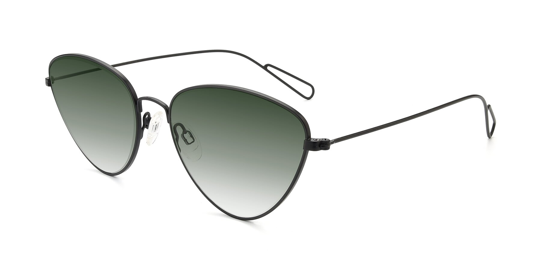 Angle of Butterfly Effect in Black with Green Gradient Lenses