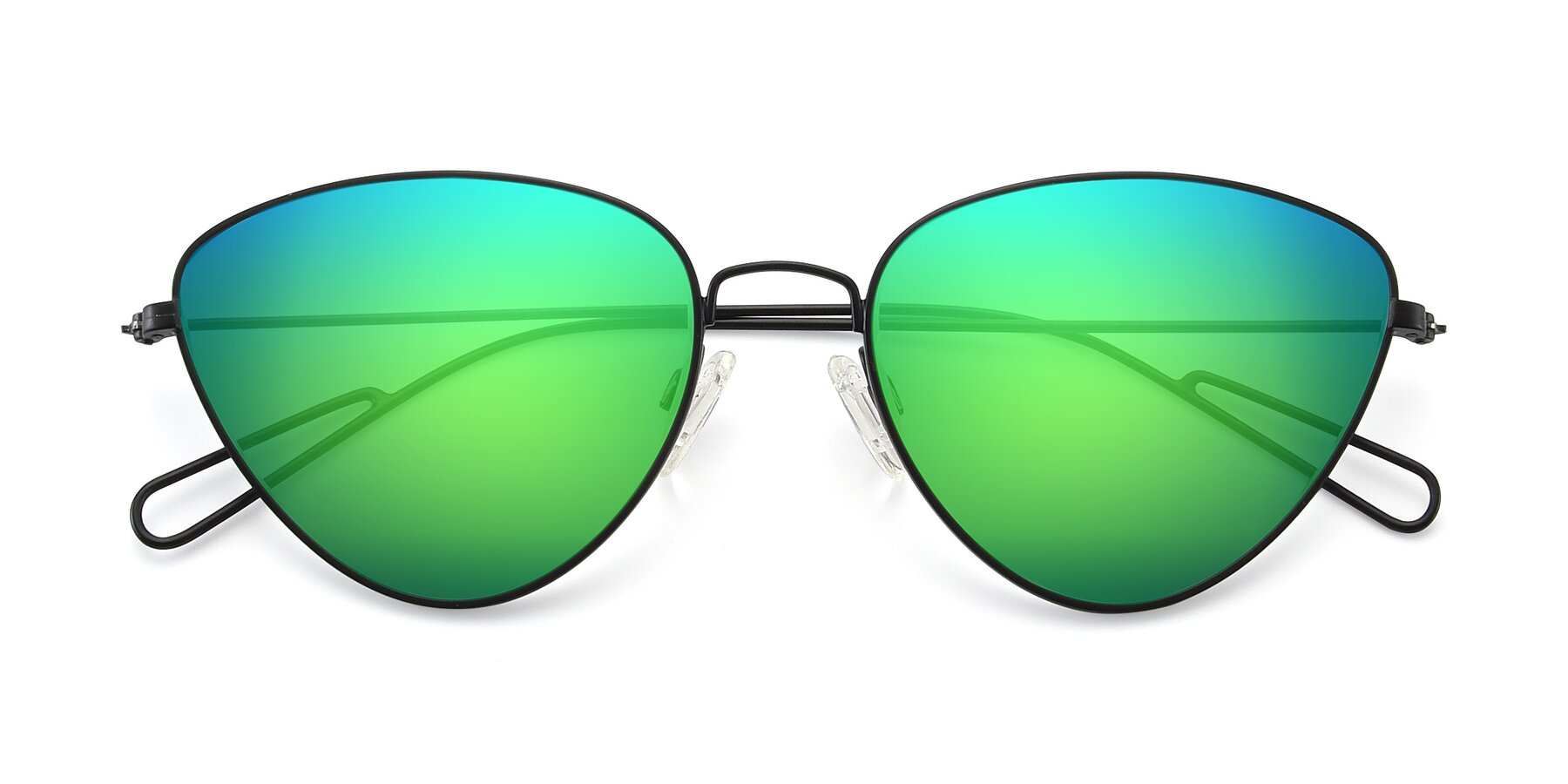 Folded Front of Butterfly Effect in Black with Green Mirrored Lenses
