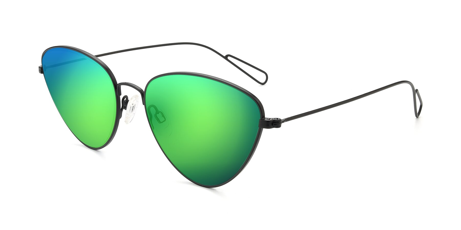Angle of Butterfly Effect in Black with Green Mirrored Lenses