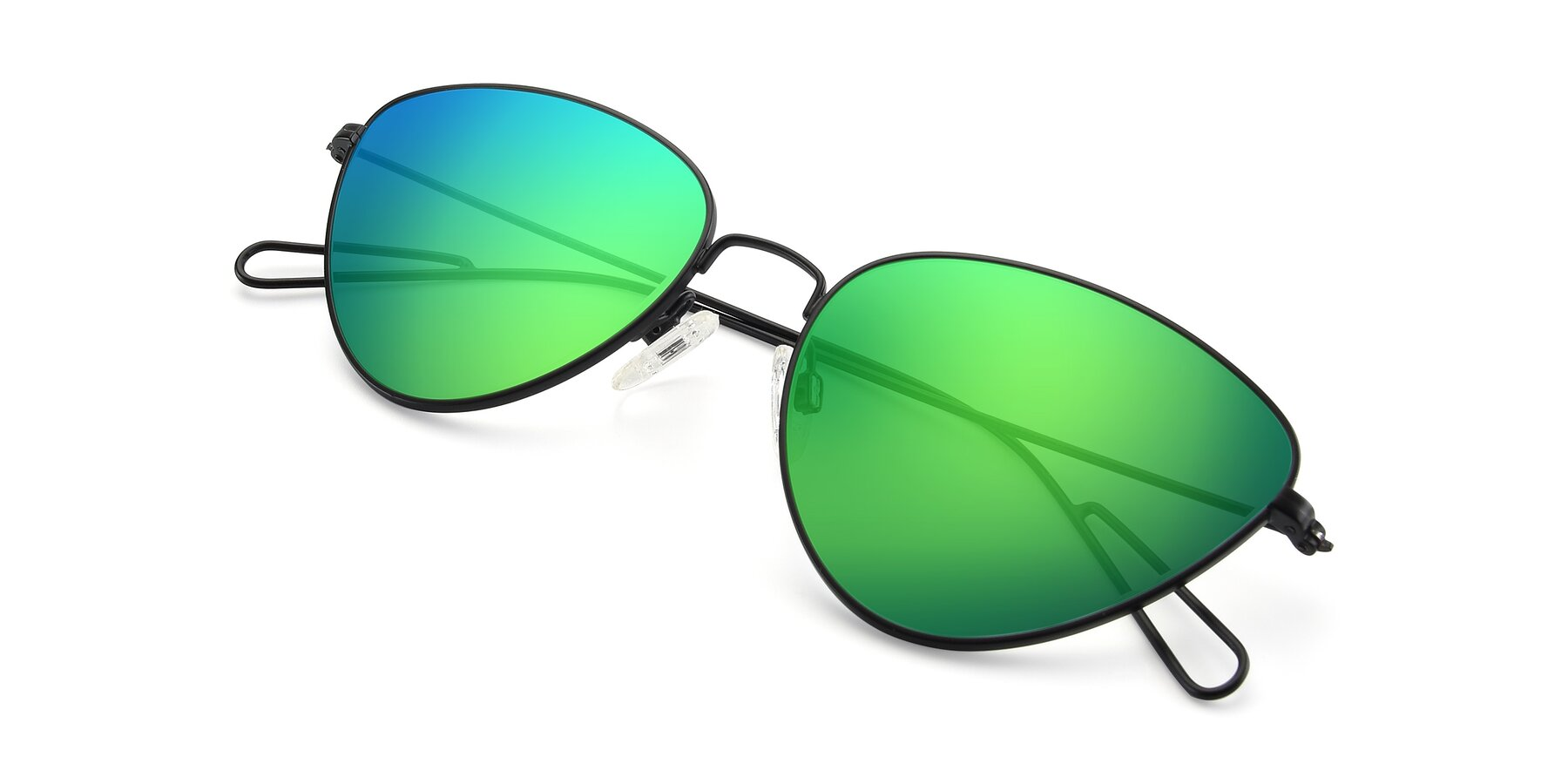 View of Butterfly Effect in Black with Green Mirrored Lenses