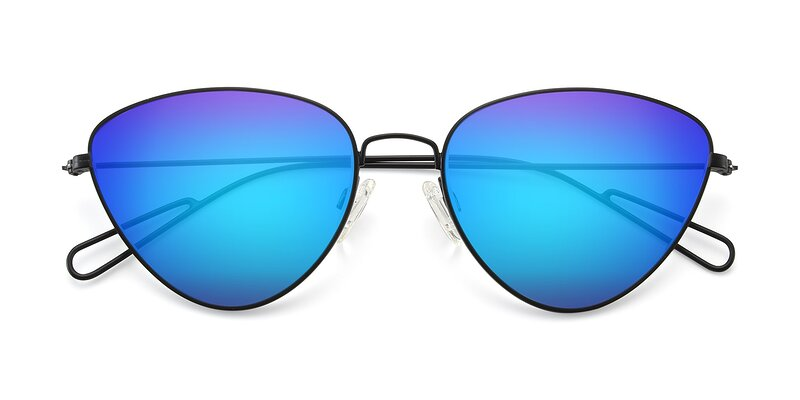 Butterfly Effect - Black Flash Mirrored Sunglasses