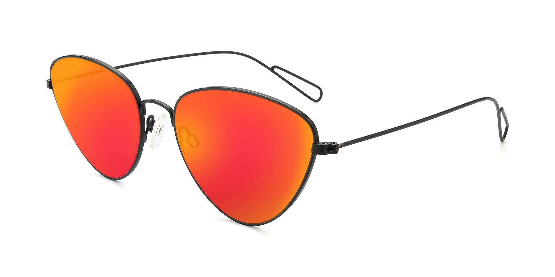 Angle of Butterfly Effect in Black with Red Gold Mirrored Lenses