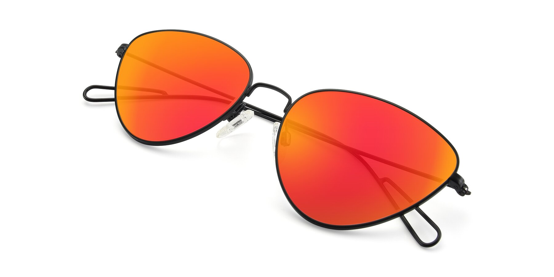 View of Butterfly Effect in Black with Red Gold Mirrored Lenses