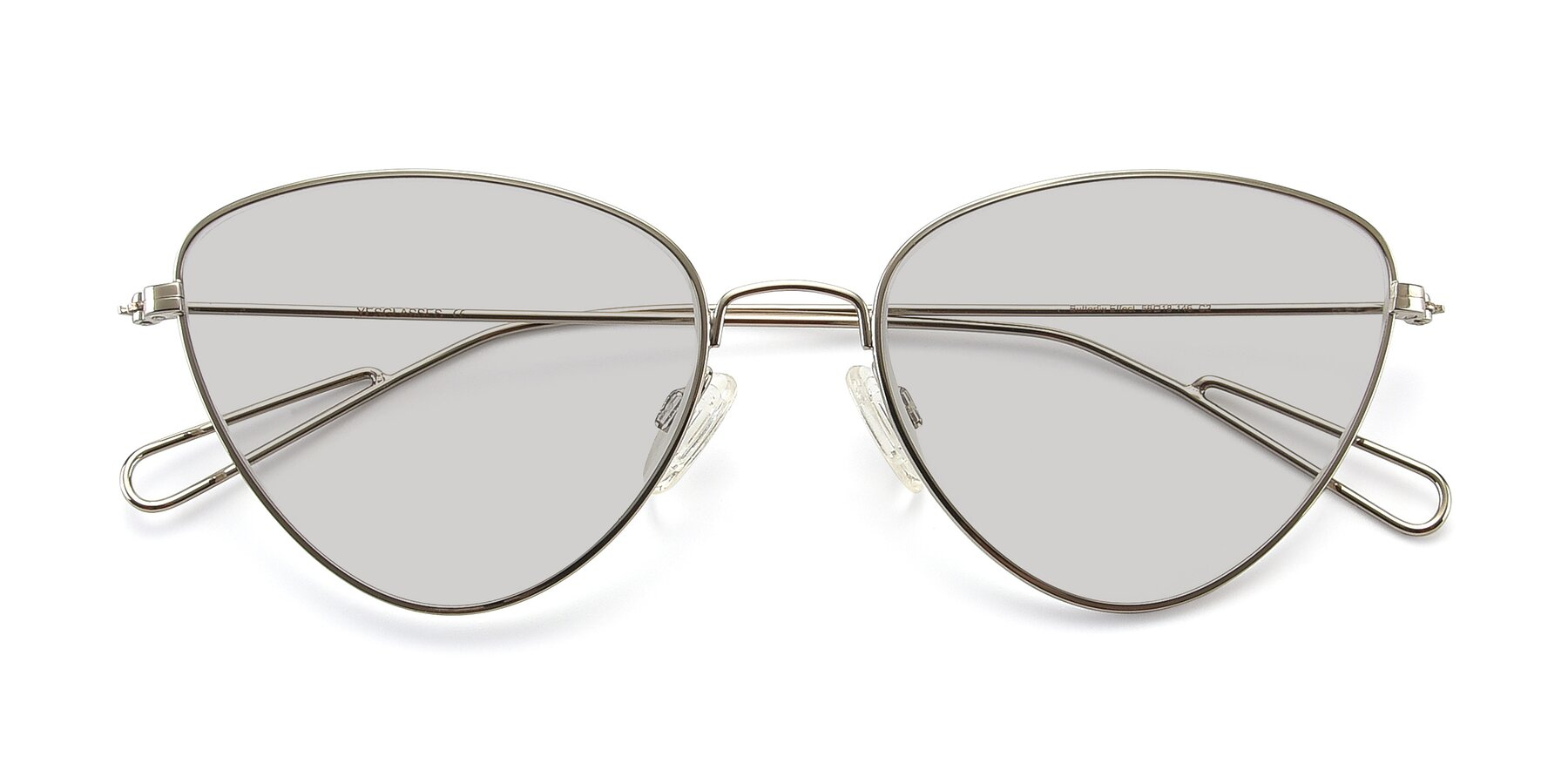 Folded Front of Butterfly Effect in Silver with Light Gray Tinted Lenses