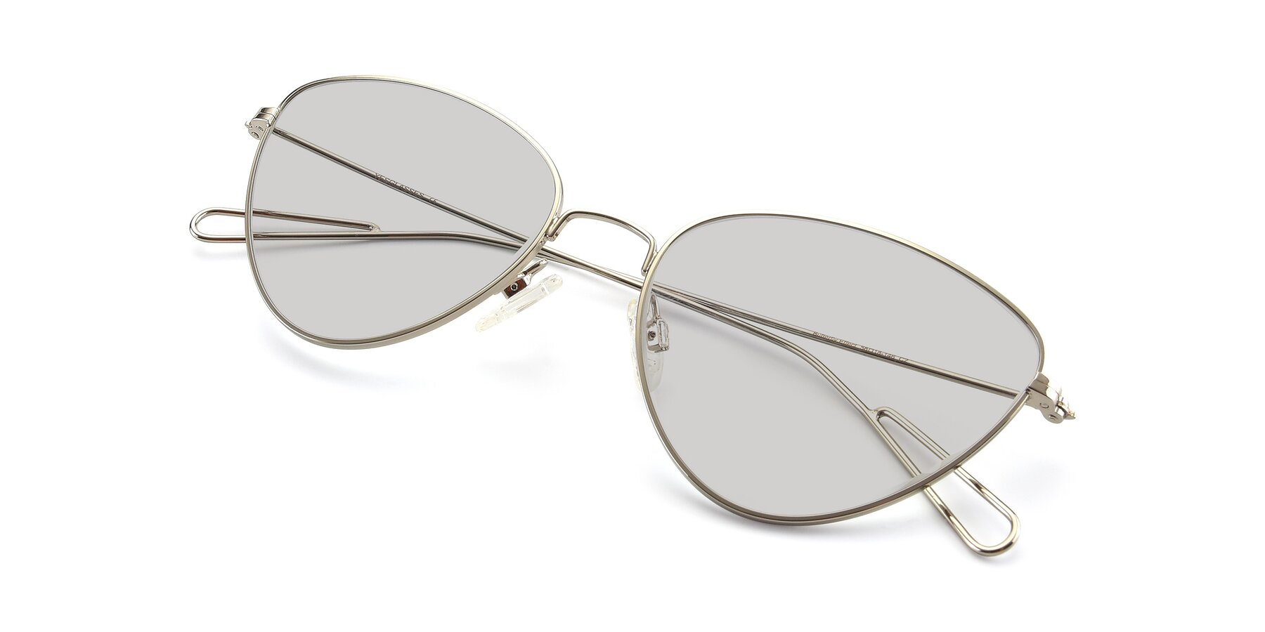 View of Butterfly Effect in Silver with Light Gray Tinted Lenses