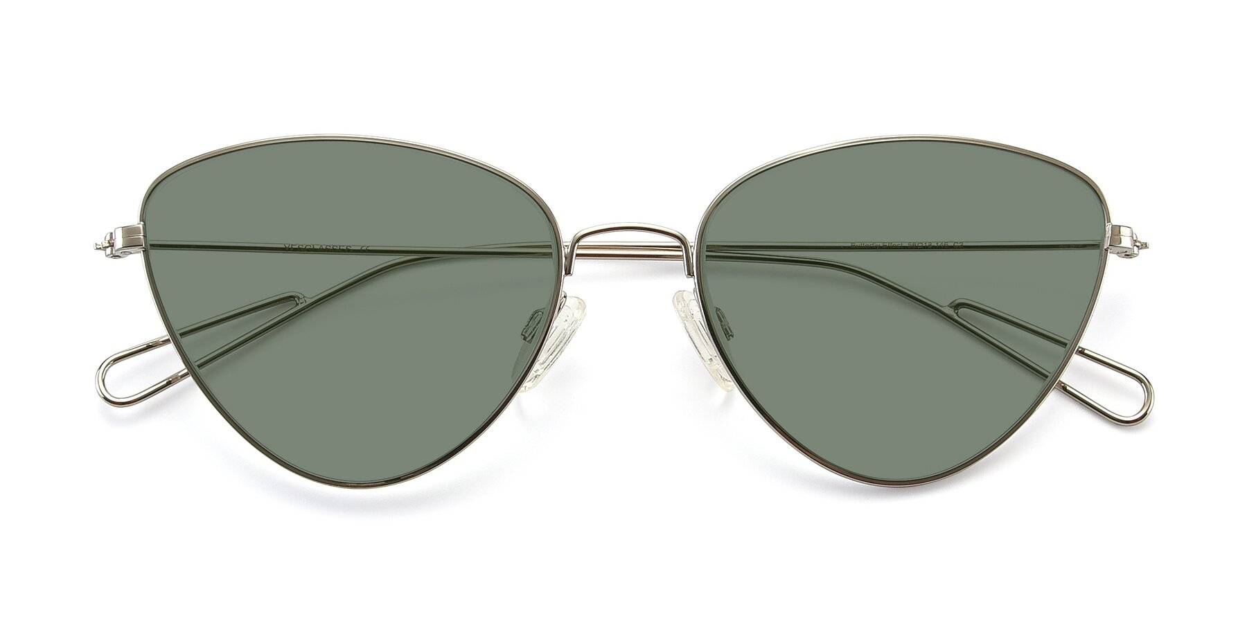Folded Front of Butterfly Effect in Silver with Medium Green Tinted Lenses