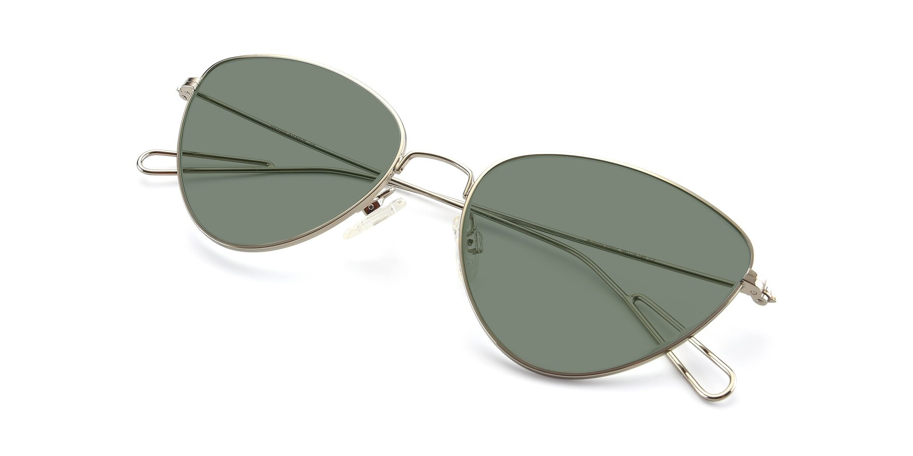 View of Butterfly Effect in Silver with Medium Green Tinted Lenses