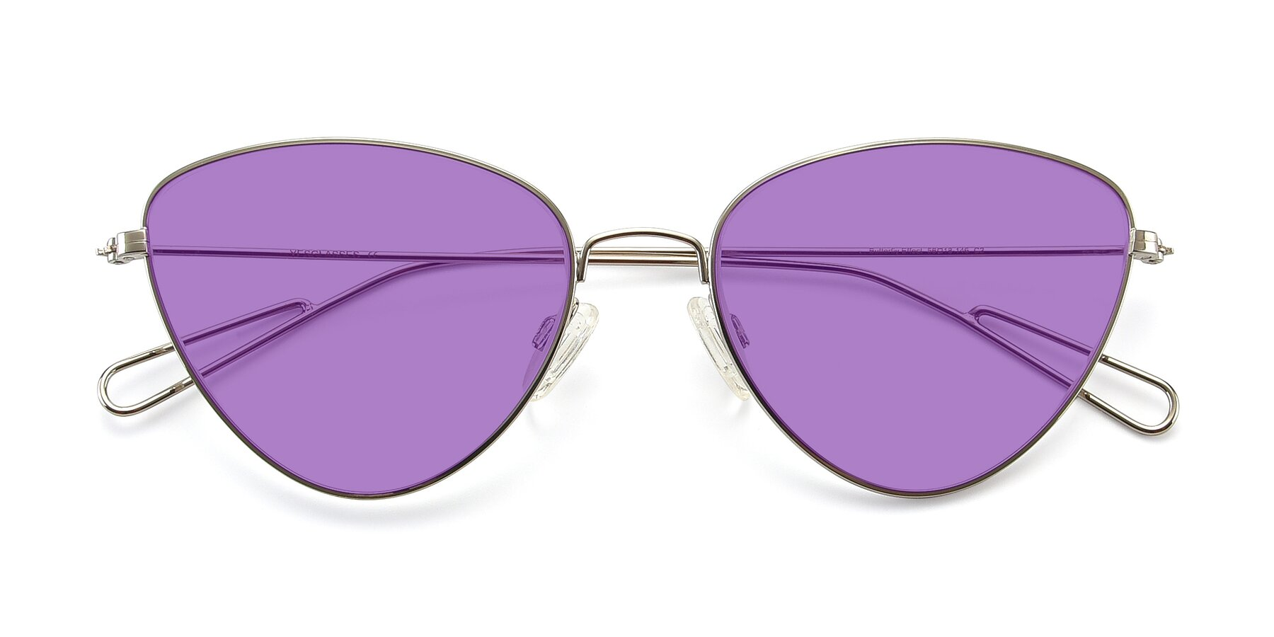 Folded Front of Butterfly Effect in Silver with Medium Purple Tinted Lenses