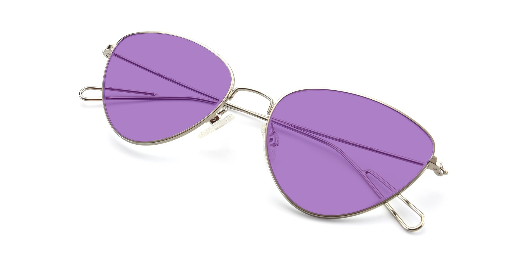 View of Butterfly Effect in Silver with Medium Purple Tinted Lenses