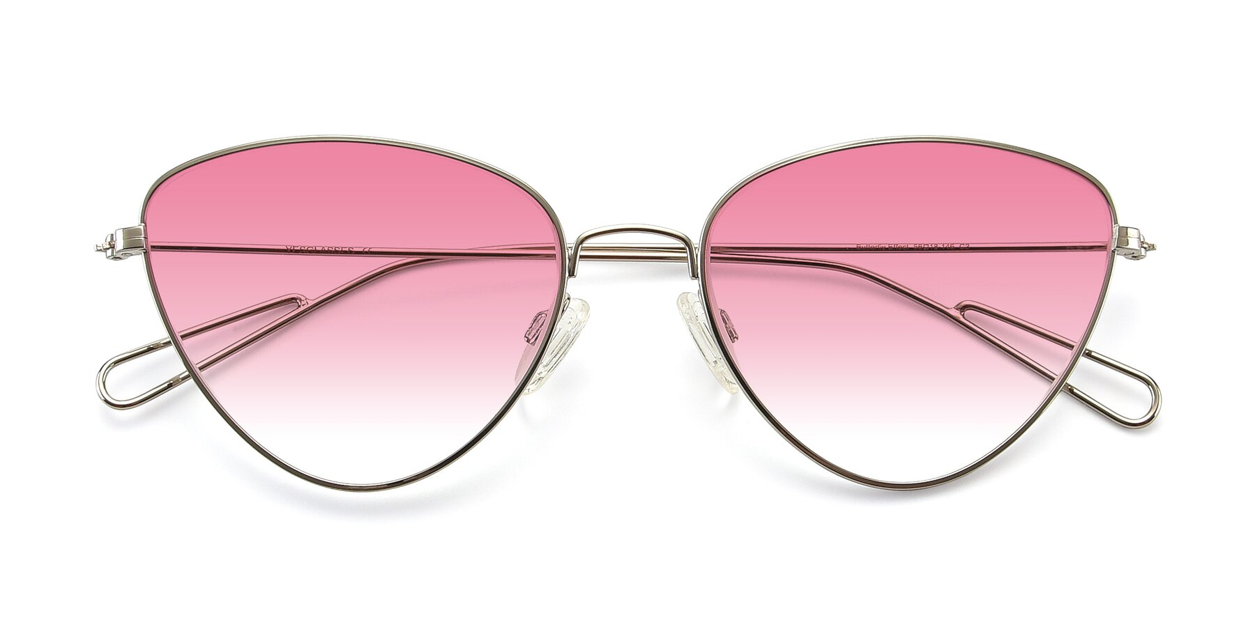 Folded Front of Butterfly Effect in Silver with Pink Gradient Lenses
