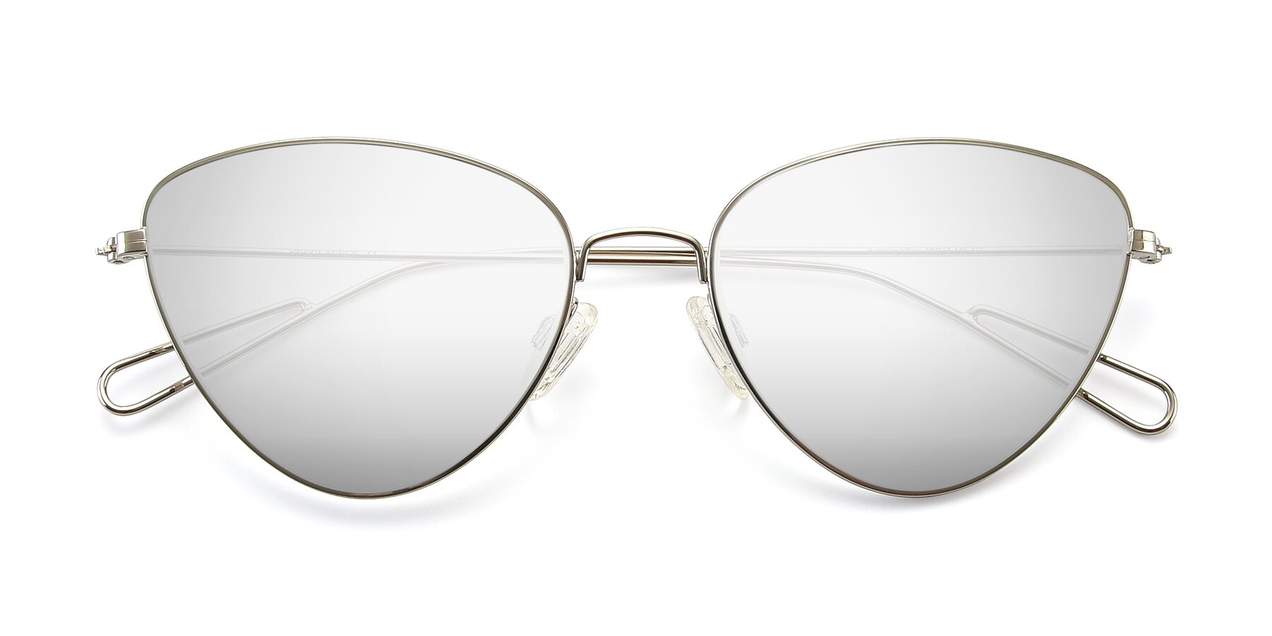 Folded Front of Butterfly Effect in Silver with Silver Mirrored Lenses