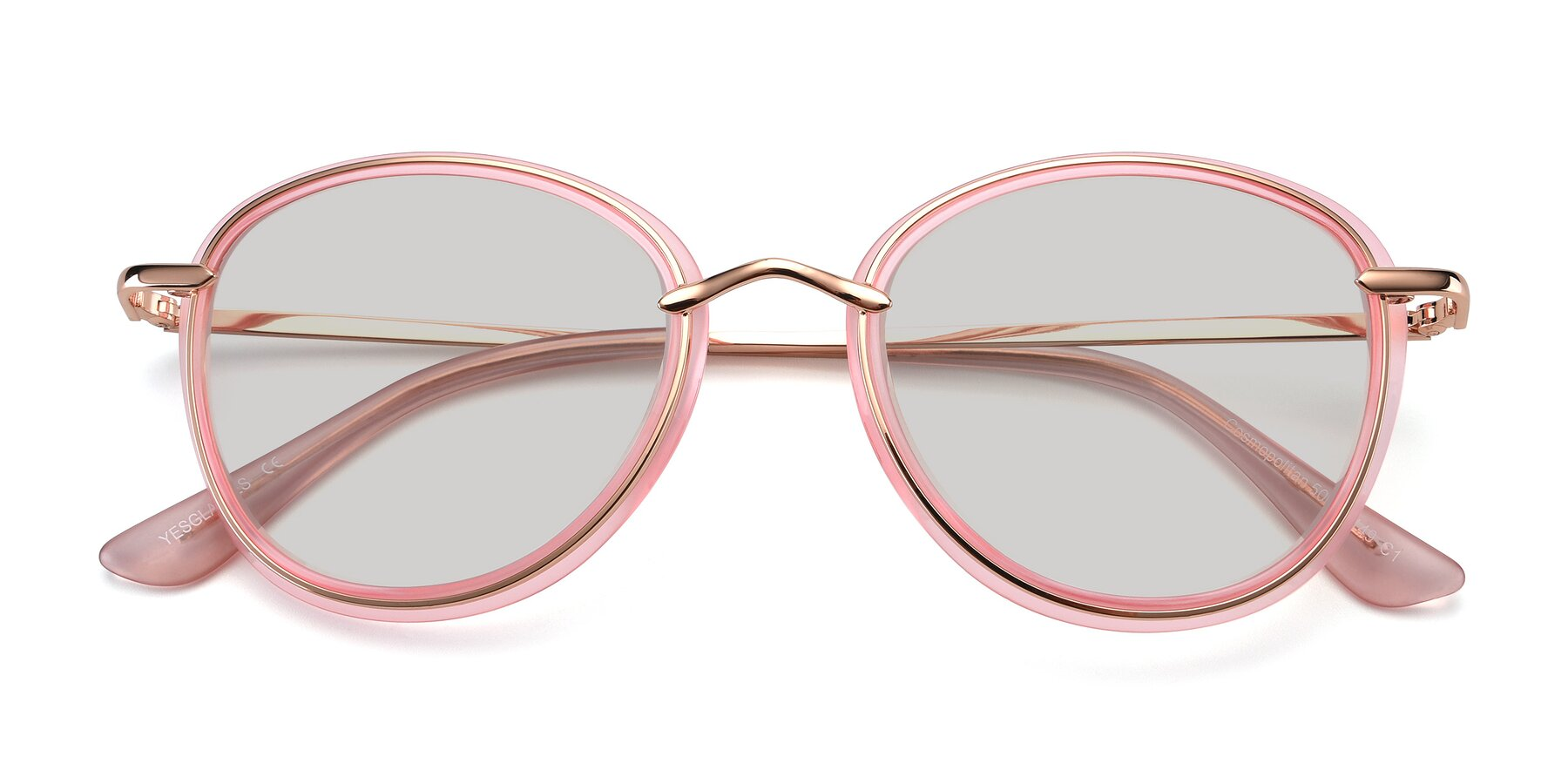 Folded Front of Cosmopolitan in Pink-Gold with Light Gray Tinted Lenses