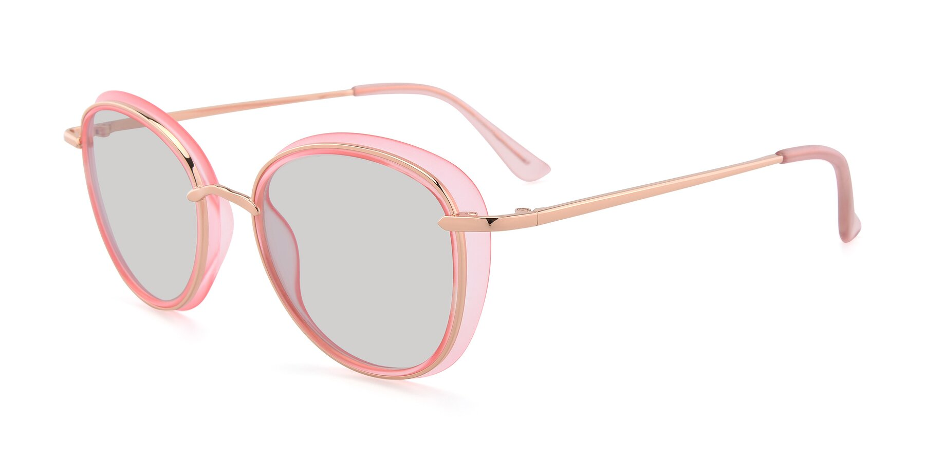 Angle of Cosmopolitan in Pink-Gold with Light Gray Tinted Lenses