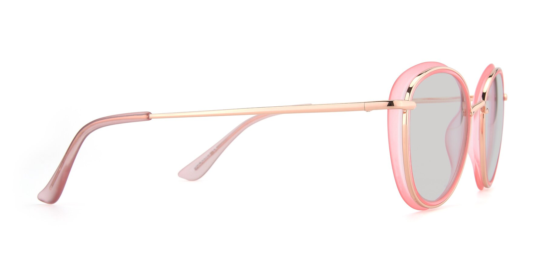 Side of Cosmopolitan in Pink-Gold with Light Gray Tinted Lenses
