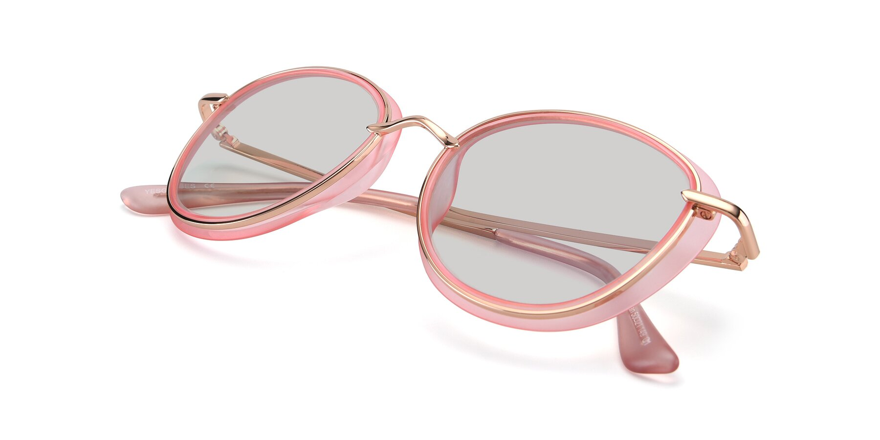 View of Cosmopolitan in Pink-Gold with Light Gray Tinted Lenses