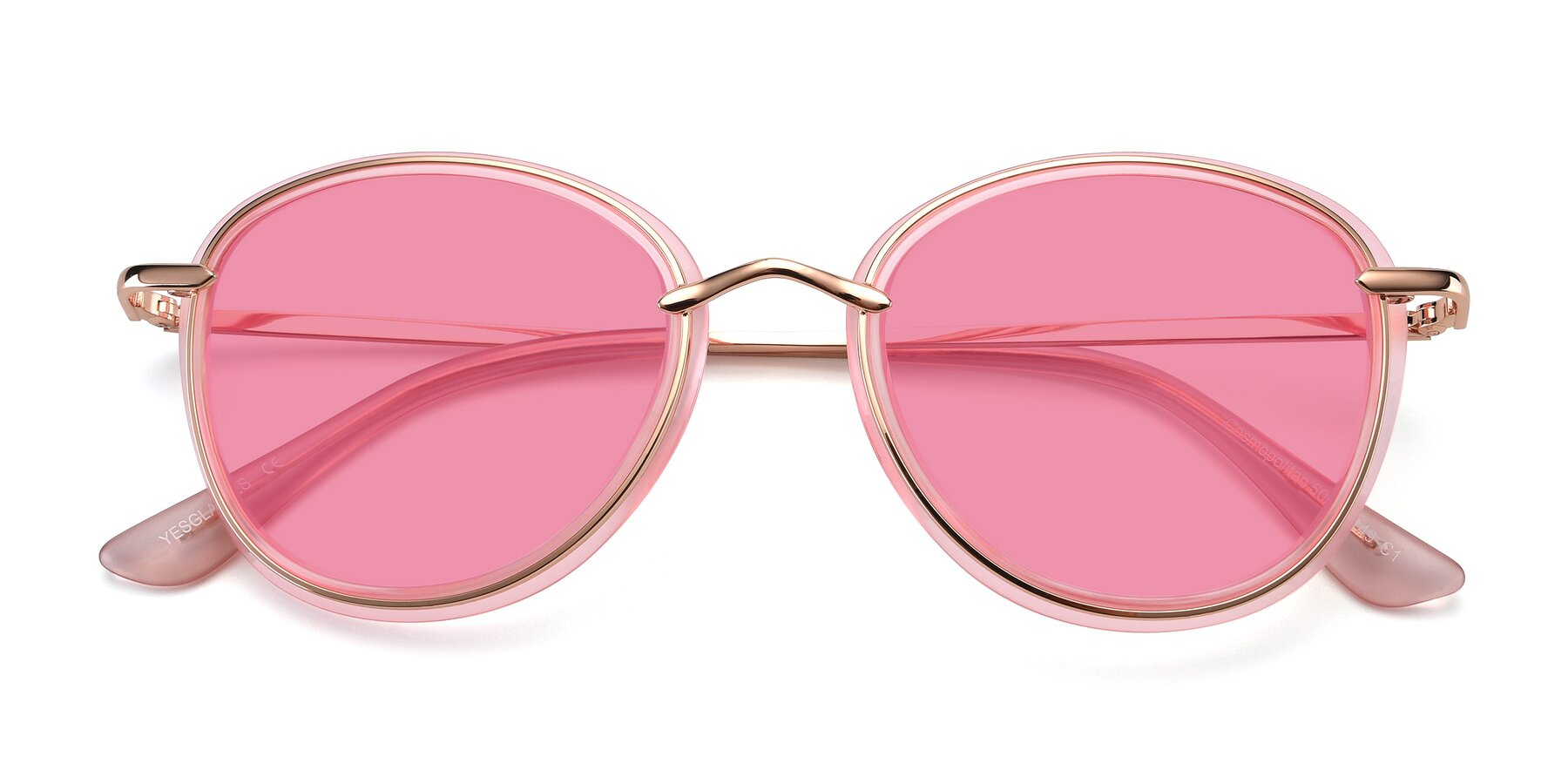 Folded Front of Cosmopolitan in Pink-Gold with Pink Tinted Lenses