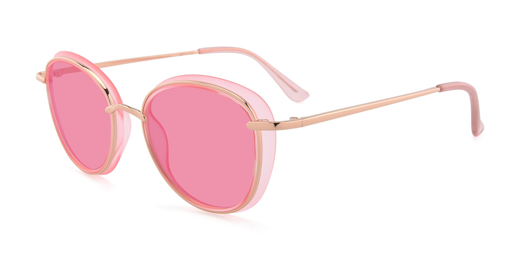 Angle of Cosmopolitan in Pink-Gold with Pink Tinted Lenses