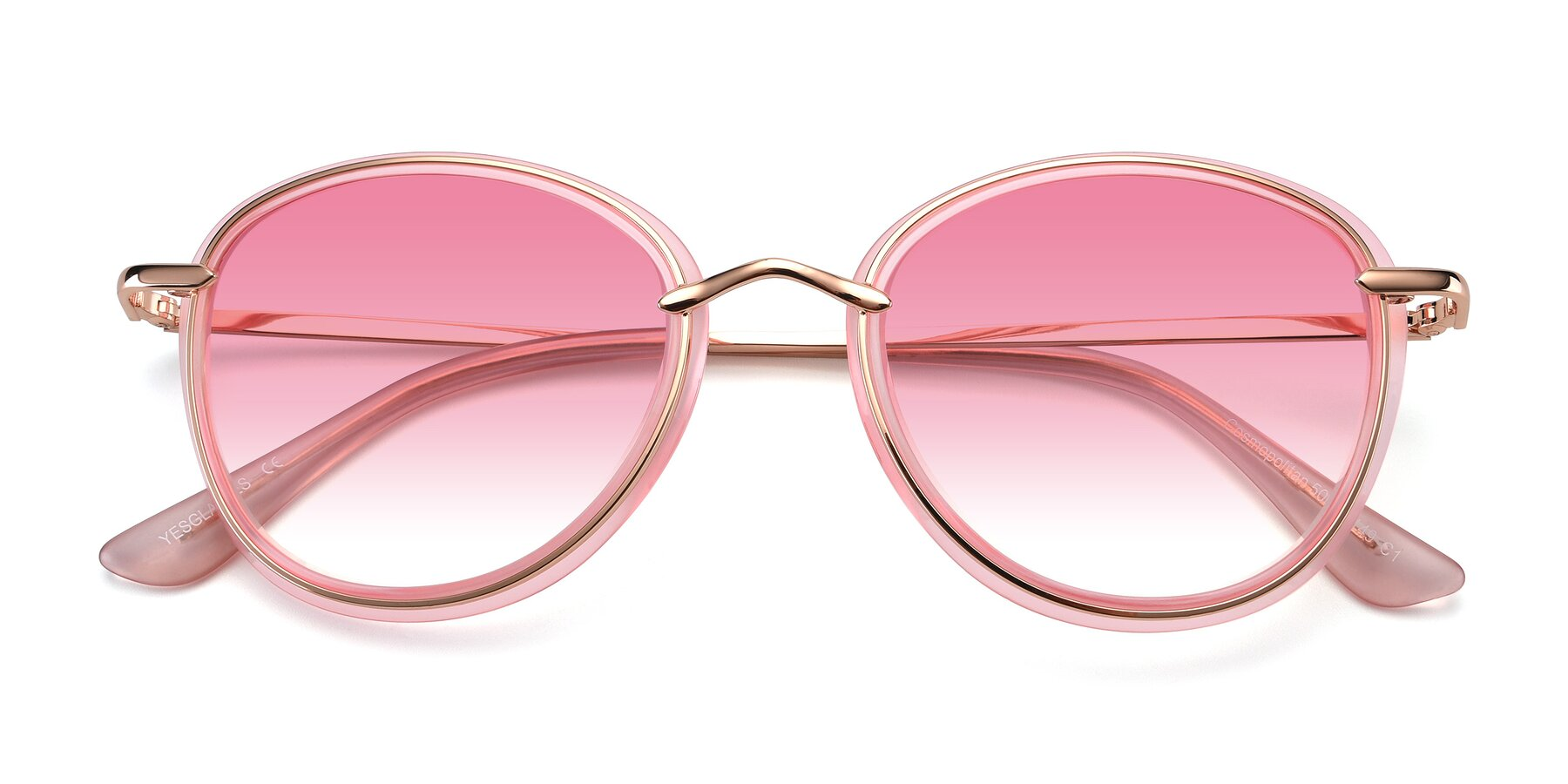 Folded Front of Cosmopolitan in Pink-Gold with Pink Gradient Lenses