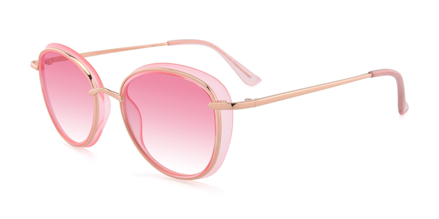 Angle of Cosmopolitan in Pink-Gold with Pink Gradient Lenses