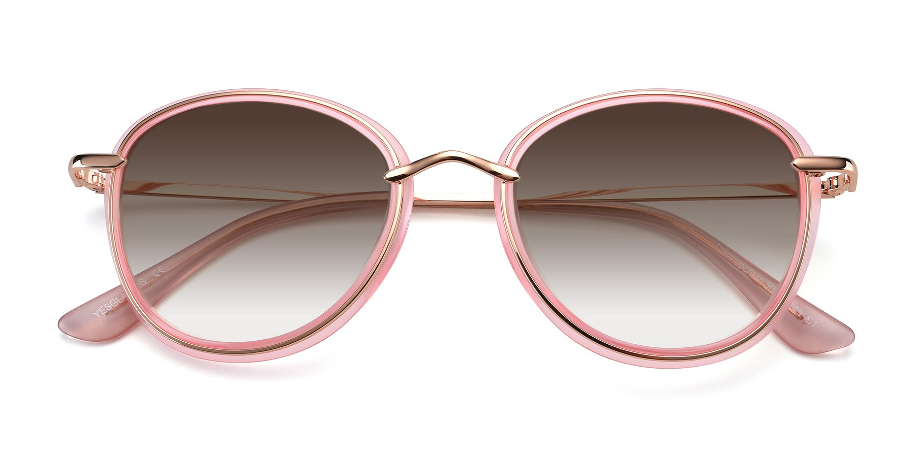 Folded Front of Cosmopolitan in Pink-Gold with Brown Gradient Lenses
